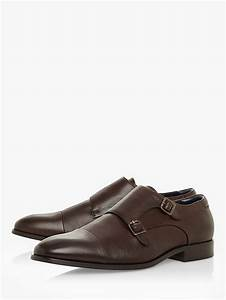 Dune Scheme Leather Double Buckle Monk Shoes  Brown At