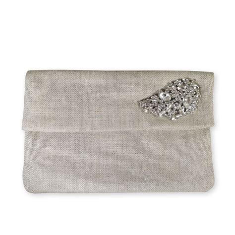 Foldable Linen Envelope With Rhinestone Brooch For