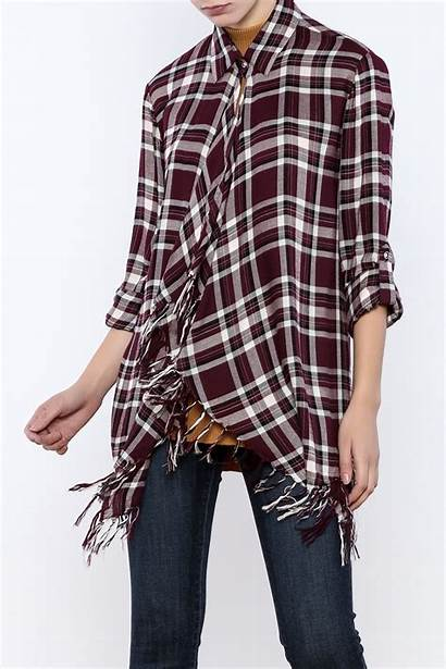 Shirt Fringe Plaid Willow Clay Shoptiques