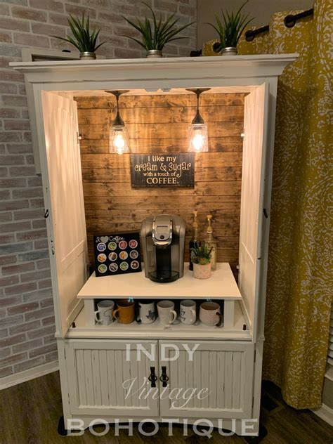 Another idea is to customize your coffee bar. SOLD! Custom armoire coffee bar, coffee station, beverage station, rustic coffee cabinet, wine ...