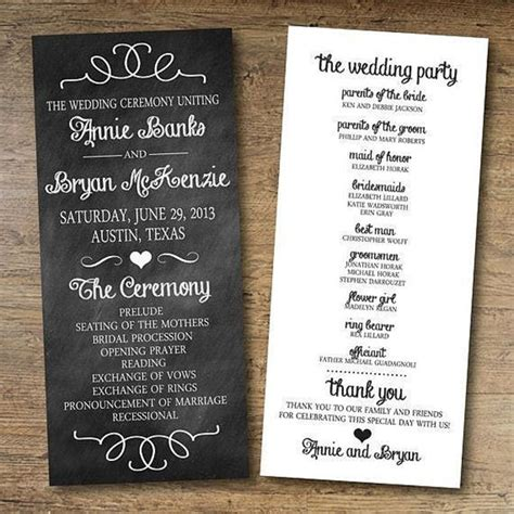 wedding bulletin papers and ink top wedding program templates everafterguide
