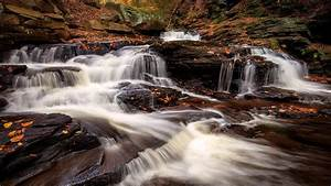 stream, waterfall, between, rocks, in, forest, hd, nature