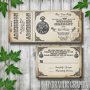 steampunk printable ticket wedding invitation and rsvp With free printable steampunk wedding invitations
