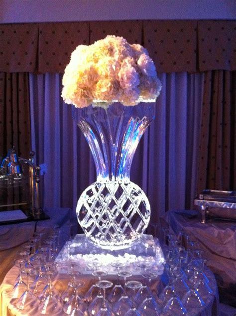 ice sculpture  gorgeous hydrangeas   top