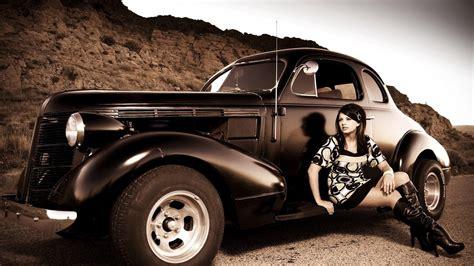 vintage car  girl   photo hd car wallpaper