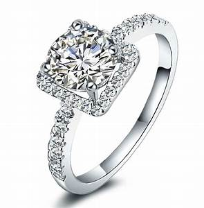 925 solid sterling silver womens created diamond wedding With wedding engagement rings for women
