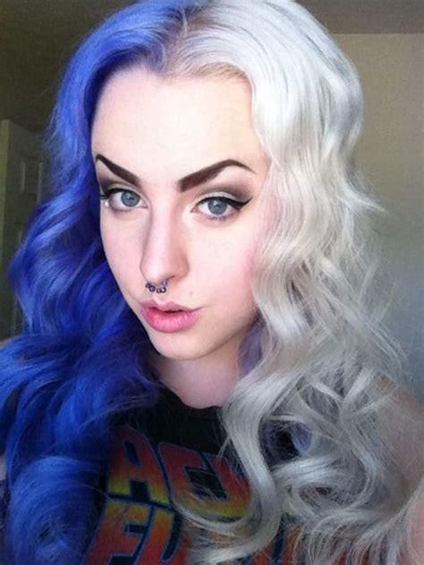 Half Purple Half Blonde Dyed Alternative Hair Dyed Hair