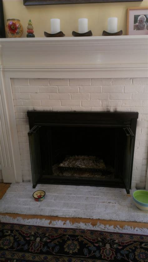 ideas   vamping white painted brick fireplace surround