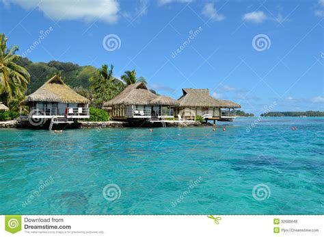 Luxury Thatched Roof Honeymoon Bungalows Royalty Free