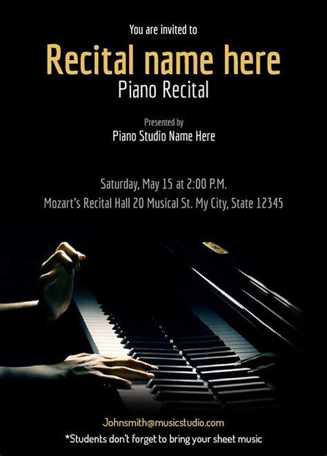 piano recital maestro  recital invitation templates