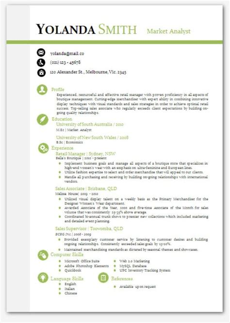 Microsoft Cv Templates by Cool Looking Resume Modern Microsoft Word Resume Template