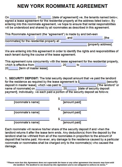 ny residential lease agreement free new york roommate agreement template pdf word