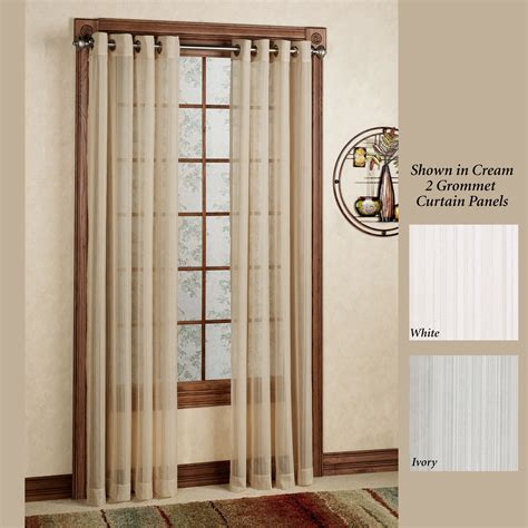 sheer curtain panels with grommets atlantic stripe semi sheer grommet curtain panels