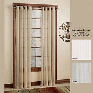 Atlantic stripe semi sheer grommet curtain panels for Grommet curtains with sheers