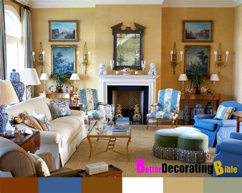 yellow and blue french provincial decorated living and
