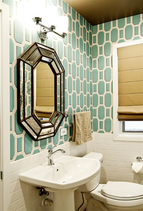 teal geometric wallpaper transitional bathroom