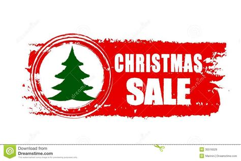 christmas sale and christmas tree on red drawn banner