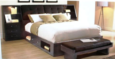 Bedroom Black Leather Bed With Storage Underneath And