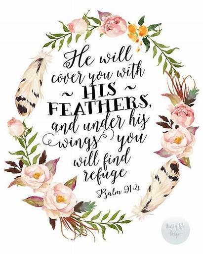 Psalm 91 Printable Watercolor Flowers Bible Scripture