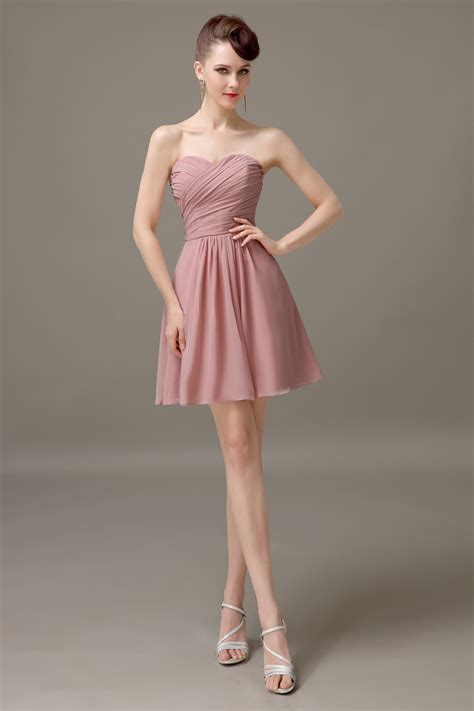 dusty rose sweetheart chiffon short bridesmaid dress cheap