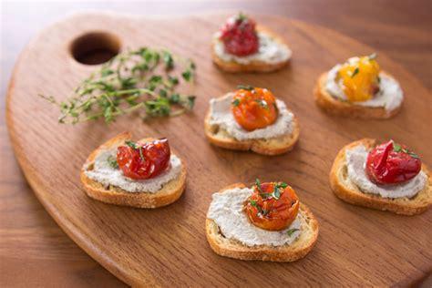 canape spread roast tomato crostini recipe fresh tastes pbs food