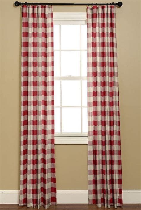 Buffalo Check Curtains In Red And White. P. by