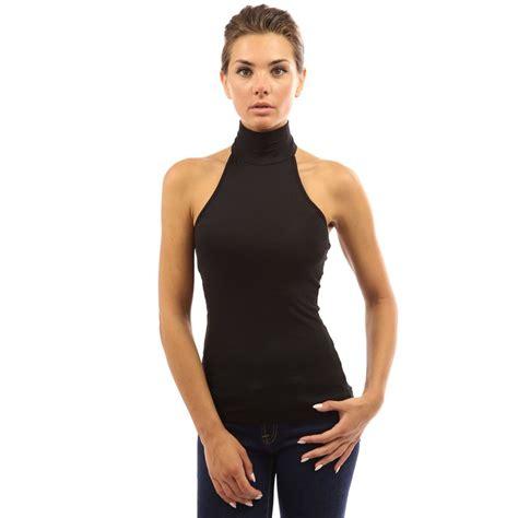 turtleneck blouse womens open back sleeveless turtleneck halter blouse