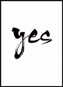 Schwarz Weiß Sprüche : plakat mit schwarz wei er typografie yes spr che handschrift typografie poster poster und ~ Orissabook.com Haus und Dekorationen