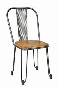 Chaise Industrielle Metal : chaise industrielle ajour e batignolles en m tal et bois pour un look industriel ~ Teatrodelosmanantiales.com Idées de Décoration