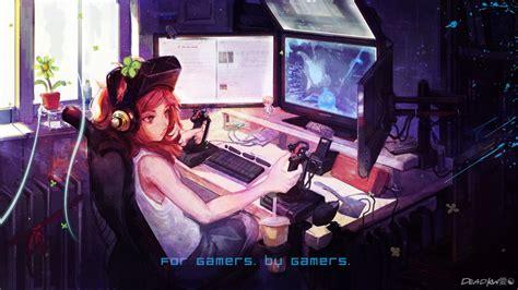 anime gamer girl wallpaper wallpaper anime gamer hd by deadkw on deviantart