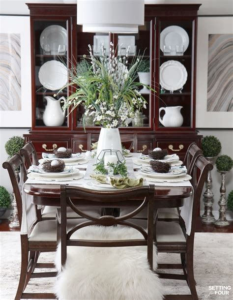 setting dining room table ideas beautiful natural table setting for spring setting for four