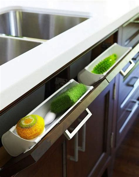 kitchen sink sponge drawer creative under sink storage ideas hative