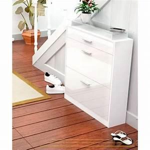 Meuble A Chaussure Blanc Laqué : range chaussure blanc laque ~ Melissatoandfro.com Idées de Décoration