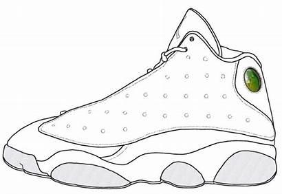Jordan Coloring Shoes Pages Retro Drawing Air