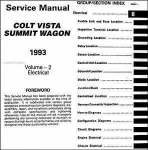 1993 Colt Vista  U0026 Summit Wagon Repair Shop Manual Original