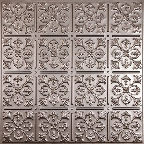 Ceilume Fleurdelis Faux Tin Ceiling Tile, 2 Feet X 2