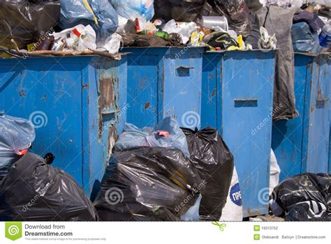 full garbage containers stock photography image