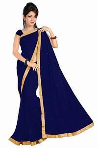 Buy Navy Blue plain chiffon saree with blouse Online