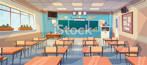 Empty School Class Room Interior Board Desk Stock Vector