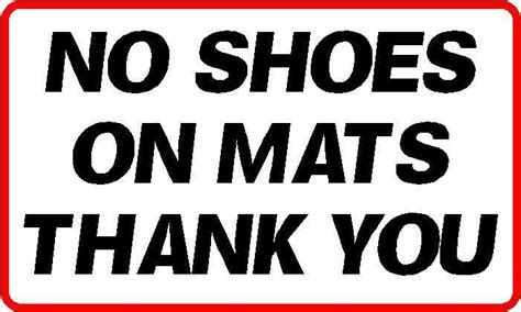 No Shoes Doormat by 140x80mm No Shoes On Mat Sticker Fitness Centre Spa Ebay