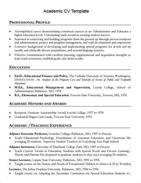 sample academic cv templates   ms word