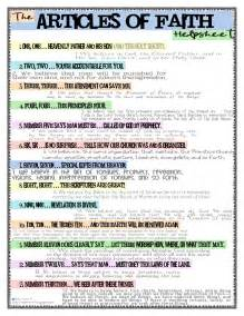 create a lot the articles of faith helpsheet chant ditty song