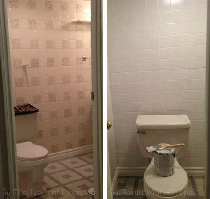 remodelaholic   bathroom makeover  painted tile