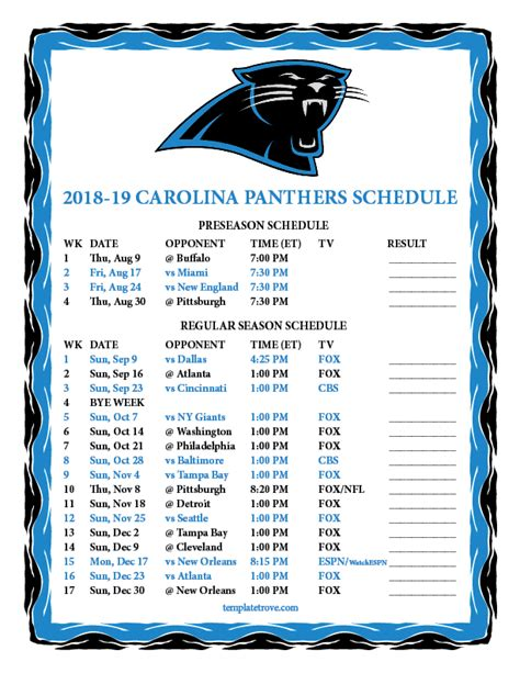 printable   carolina panthers schedule