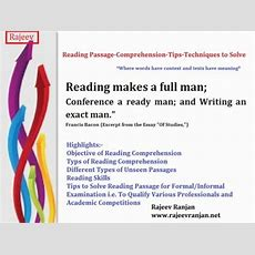 Reading Comprehension Passage Tips And Techniques To Solve