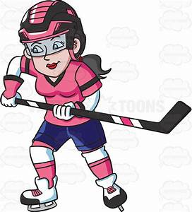 Cartoon Clipart: A Female Hockey Player Charges To Defend ...