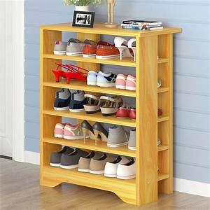 spacious, , u0026, stylish, 6, tier, wooden, shoe, rack, organizer, , black, wood