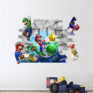 Super Mario Deko : aufkleber 3d smash wand sticker wandtattoo super mario kind zimmer deko wandbild ebay ~ Frokenaadalensverden.com Haus und Dekorationen