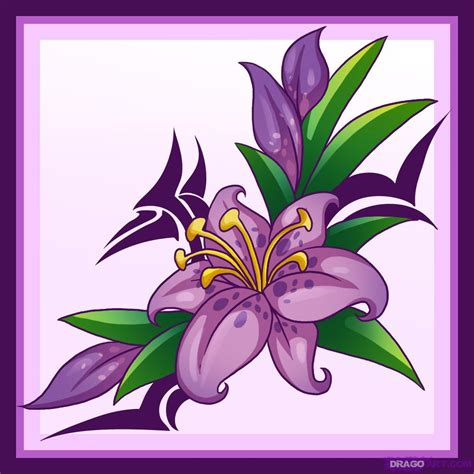 how to draw a purple flower how to draw a flower tattoo step by step tattoos pop culture free online drawing tutorial