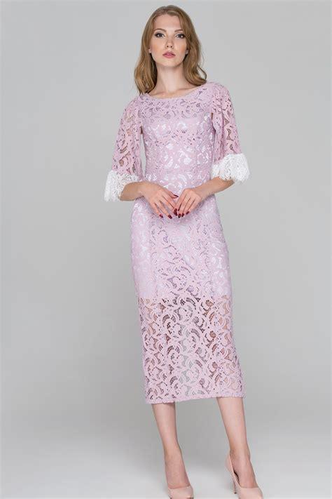 Midi Dress Dress Ola By Ladiva lilac lace sleeved midi dress ownthelooks
